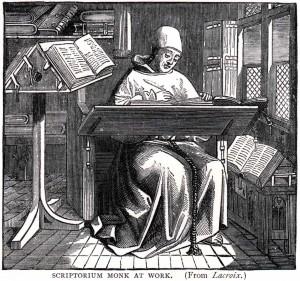 Ein Mönch im Skriptorium