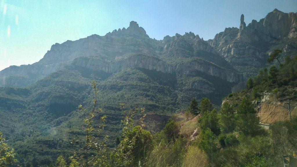 Blick aus der Bergbahn hinauf auf bewachsene Felsen