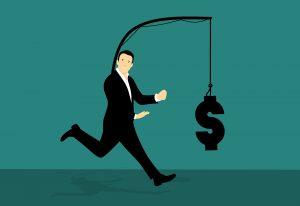 Grafische Darstellung eines Mannes, der dem symbolischen Geld an der an ihm befestigten Angel hinterherläuft